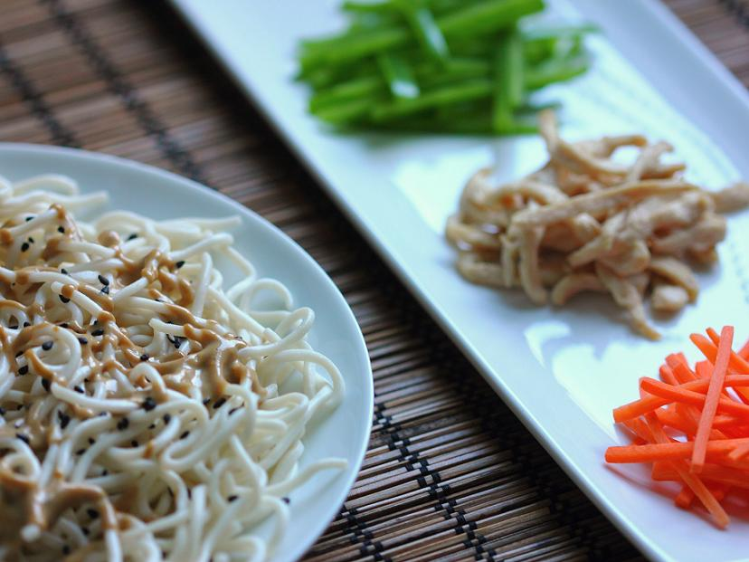 Cold noodles with sesame and peanut sauce | Soy, Rice, Fire