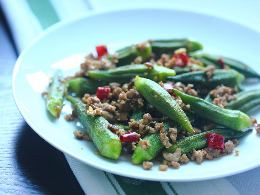 Dry-fried okra with ground pork and ya cai