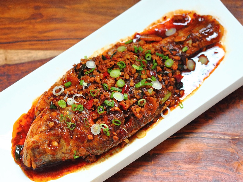 Dry-braised fish with ground pork and dou ban jiang