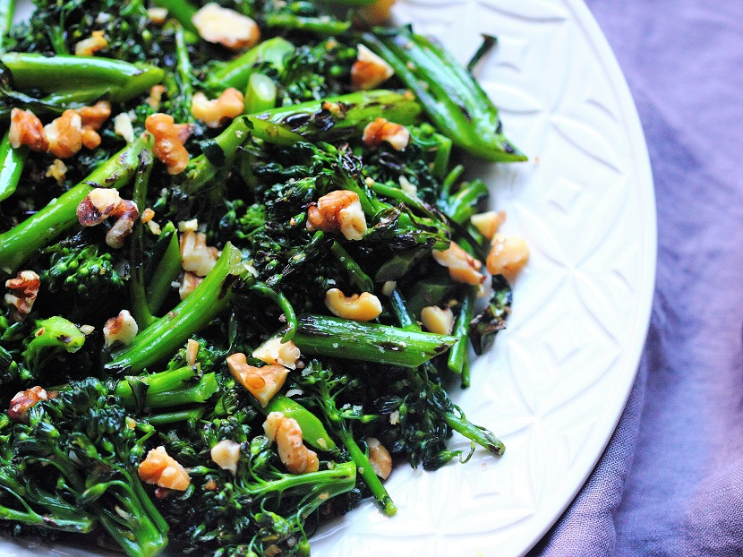 Wok-charred broccolini with garlic and walnuts